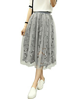 Women's Solid White / Gray Skirts,Holiday / Street chic Midi