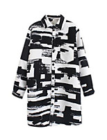 Women's Check Black Coat,Simple Long Sleeve Nylon