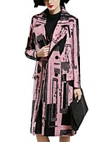 Women's Casual/Daily Plus Size Coat,Print Shirt Collar Long Sleeve Winter Blue / Pink / White Polyester