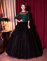 Formal Evening Dress Ball Gown Jewel Floor-length Lace / Tulle with Beading / Crystal Detailing / Lace / Sequins