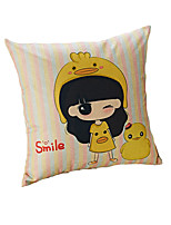 Design Print Smile Girl Decorative Throw Pillow Case Cushion Cover Polyester Material 17inchx17inch for Sofa Home Decor
