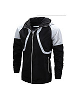 Men's Long Sleeve Casual Jacket,Cotton Patchwork Black / Blue