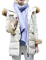 Women's Solid White / Black / Green Padded Coat,Simple Hooded Long Sleeve