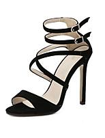 Zapatos de mujer-Tacón Stiletto-Tacones-Sandalias / Tacones-Vestido / Casual / Fiesta y Noche-Microfibra-Negro / Almendra