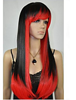 The New Fashion Wig Red And Black Color Mixture COS Long Straight Hair Wigs