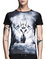 Summer Plus Sizes Men's Round Neck Short Sleeve Fashion Printing Slim Casual T-Shirt Tops