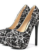 Women's Shoes Leatherette Stiletto Heel Heels Heels Party & Evening Black / White