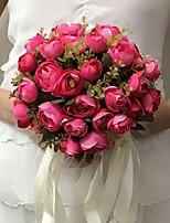 Bouquets de Noiva Redondo Rosas Buquês Casamento / Festa / noite Fúcsia / Beje / Champagne Cetim 9.84