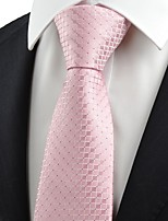 New Pink Checked Men's Tie Necktie Lovely Wedding Party Holiday Prom Gift KT0057