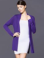 Women's Solid Pink / Purple Cardigan,Vintage / Street chic Long Sleeve