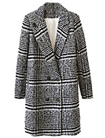 Women's Plaid Gray Pea Coats,Simple Long Sleeve Wool