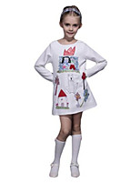 Vestido Chica de-Primavera / Otoño-Algodón-Blanco