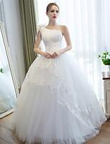 볼 드레스 웨딩 드레스 바닥 길이 원 숄더 새틴 / 튤 와 아플리케 / 꽃장식 / 레이스