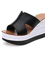 Women's Shoes Synthetic Platform Peep Toe / Creepers / Slippers Slippers Dress / Casual Black / White