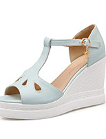 Women's Shoes Leatherette Wedge Heel Wedges / Peep Toe Sandals Party & Evening / Dress / Casual Blue / Pink