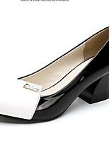 Chaussures Femme-Mariage / Extérieure / Habillé-Noir / Blanc-Gros Talon-Confort / Bout Arrondi-Talons-Similicuir