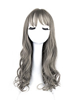 Women's Fashionable Gray Color Long Length Top Quality Synthetic Wigs