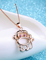 Cute Rose Gold Plated Monkey Red Eyes Classic Necklace Real Silver Pendant Water Wave Chain Women Animal Jewelry