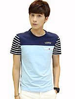 JISNEY Men's Short Sleeve T-Shirt,Cotton Casual / Work / Formal / Sport / Plus Sizes Striped