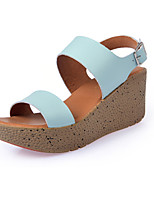 Women's Shoes Leather Spring / Summer / Fall Comfort Sandals Casual Flat Heel Slip-on Black / Blue / White