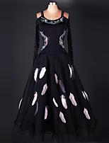 Ballroom Dance Dresses Women's Performance Chinlon / Organza Draped 1 Piece Black / Red Modern Dance Dress