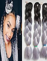 1-12packs / pcs extensões de cabelo trança sintética tranças pretas e cor gery alta temperatura 100g
