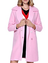 Women's Solid Pink Pea Coats,Street chic Long Sleeve Polyester