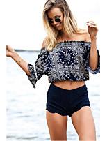 Women's Print Blue T-shirt,Boat Neck ½ Length Sleeve