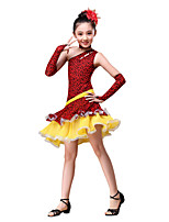 Latin Dance Outfits Children's Performance  Ruched / Leopard 4 Pieces Red / Coffee