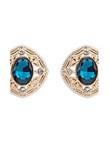 Shinning Round Rhinestone Oval Alloy Stud Earrings Office Fashion Women Summer Style Luxury Jewelry