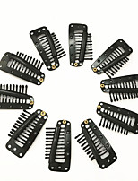 10pcs Hairpins Hair Extension Clips Black Blonde Color Snap Clips for Hair Extension I Teeth Snap Wig Clips tool