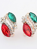 Vintage Ladies Beautiful Small Fine Gemstone Earrings Mix Colors Rhinestone Fashion Design Stud Earrings for Women