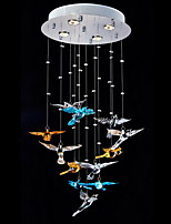 Clear Crystal Multi-color Bird Shape Lighting Pendant Modern Lamp 4 Lights