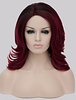 New Arrival Europe Black And Burgundy Heat Resistant Middle Long Wavy Hair Synthetic Wigs