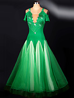 Ballroom Dance Dresses Women's Performance Spandex Draped 1 Piece Green Modern Dance Dress