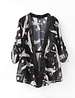 Women's Casual/Daily Simple Jackets,Print Round Neck Long Sleeve Black Polyester