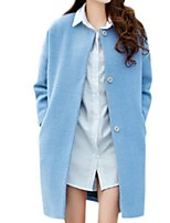Women's Solid Blue / Red Pea Coats,Street chic Long Sleeve Polyester