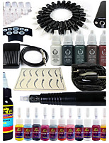 solong tattoo roterende tattoo machine& permanente make-up pen 20 naaldpatronen inktset voeding voetpedaal ek101-1