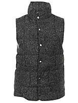 Women's Solid Gray Down Coat,Simple Stand Sleeveless