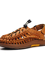 Sapatos Masculinos-Sandálias-Marrom / Dourado-Napa Leather-Ar-Livre / Casual