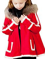Girl's Black / Red Jacket & Coat,Stripes Polyester Spring / Fall