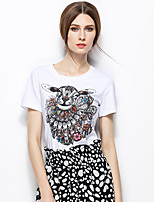 Zishangbaili® Round Neck Short Sleeve Shirt & Blouse White-TX1507