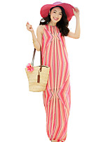 Women's Simple Striped Chiffon Dress,Crew Neck Maxi Polyester