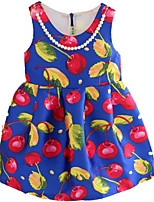Girl's Blue Dress,Floral Cotton Summer / Spring