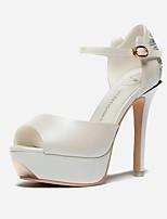 Chaussures Femme-Mariage / Bureau & Travail / Habillé / Soirée & Evénement-Blanc-Talon Aiguille-Bout Ouvert / Creepers-Sandales-