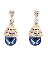 Fashion Jewelry Elegant Women Simulated Gemstone and White Rhinestone Alloy Pierced Drop Earrings
