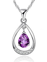 Classic 925 Sterling Silver Jewelry Amethyst Rhinestone Water Drop Pendant Crystal Fashion Necklaces Women 2016