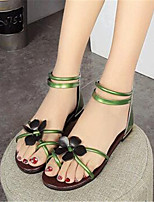 Women's Shoes Leatherette Flat Heel Comfort Sandals Outdoor / Casual Black / Green / Gray / Gold