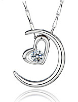 2016 Trendy Moon Necklace Real 925 Sterling Silver Heart Pendant With Big Rhinestone Vintage Women Jewelry