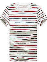 Men's Fashion Personality Striped Round Collar Slim Fit Short Sleeve T-Shirt, Cotton/Casual / Plus Sizes